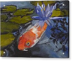 Koi And Lily Acrylic Print by Jessmyne Stephenson