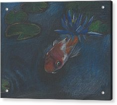 Acrylic Print featuring the painting Koi And Water Lily by Jessmyne Stephenson