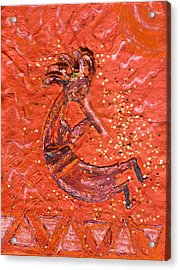 Kokopelli Bright Acrylic Print by Anne-Elizabeth Whiteway
