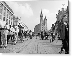 Krakow Carriages Acrylic Print by Robert Lacy