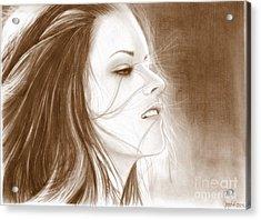 Kristen Stewart - Sepia Acrylic Print