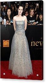 Kristen Stewart Wearing An Oscar De La Acrylic Print by Everett