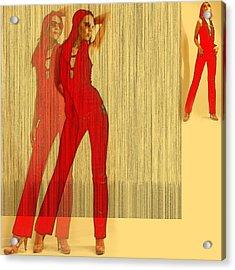 Kristine In Red Acrylic Print by Naxart Studio