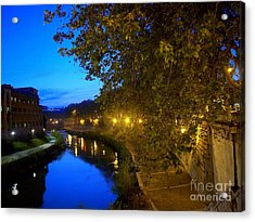 la notte sul Tevere dal Ponte Fabricio Acrylic Print