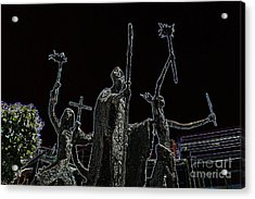 La Rogativa Statue Old San Juan Puerto Rico Glowing Edges Acrylic Print by Shawn O'Brien