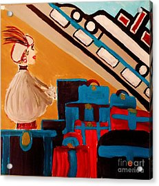 La Shai Waits For The Queen Mary II Acrylic Print by Marie Bulger