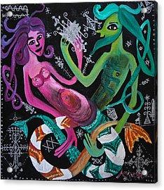 Les Sirenes Amoureux Acrylic Print by Amanacer Originals