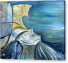 Beautiful Mysterious Blue Woman Portrait La Sirene French For Mermaid Mythic Siren Original Painting Acrylic Print by Marie Christine Belkadi