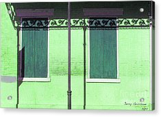 Lace Shadows And Plank Shutters Acrylic Print by Jerry Grissom