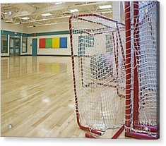 Lacrosse Goals In A Gymnasium Acrylic Print by Marlene Ford