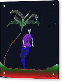 Acrylic Print featuring the digital art Lad With A Flute by Asok Mukhopadhyay