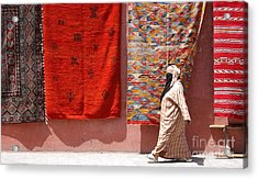 Lady And The Carpets Acrylic Print by Steve Goldstrom