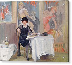 Lady At A Cafe Table  Acrylic Print by Harry J Pearson