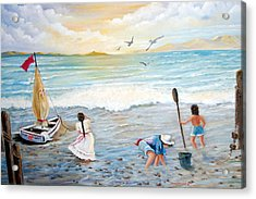Lady Bay Children On The Beach Acrylic Print by Janna Columbus