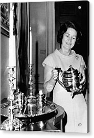 Lady Bird Johnson Holds A Silver Teapot Acrylic Print by Everett