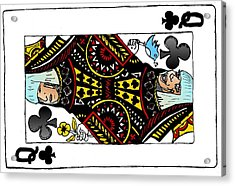 Lady Gaga Queen Of Clubs Poker Face Caricature Acrylic Print by Yasha Harari