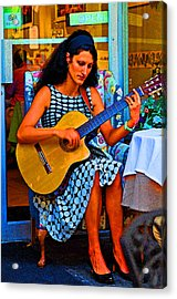 Lady Guitar Acrylic Print by Peter  McIntosh