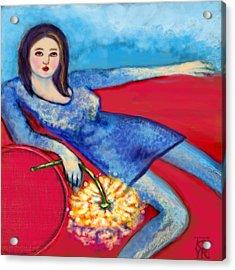 Lady In Blue Acrylic Print by Kimberly Van Rossum