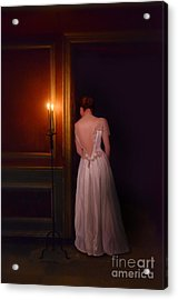 Lady In Candle Light Acrylic Print by Jill Battaglia