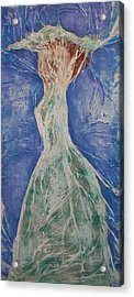 Lady In Green Acrylic Print by Angela Stout