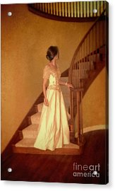 Lady In Lace Gown On Staircase Acrylic Print by Jill Battaglia