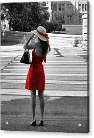 Lady In Red With Color Splash Acrylic Print