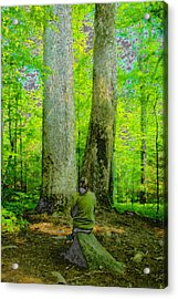 Lady In The Woods Acrylic Print by David Lee Thompson
