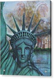 Lady Liberty Cries Acrylic Print