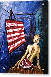 Lady Liberty Female Flag Figure Painting In Red Green Blue And Yellow Acrylic Print