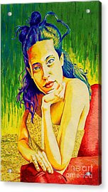 Lady N Colour Acrylic Print by Jose Miguel Barrionuevo