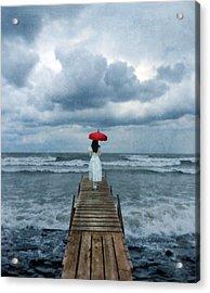 Lady On Dock In Storm Acrylic Print by Jill Battaglia