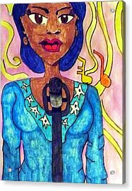 Lady Singer Acrylic Print by Artists With Autism Inc