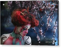 Acrylic Print featuring the digital art Lady Spring Silence by Rosa Cobos