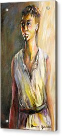 Acrylic Print featuring the painting Lady Waiting by Bonnie Goedecke