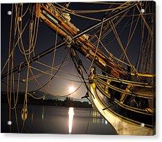 Lady Washington - Moonlight On Coos Bay Acrylic Print by Gary Rifkin