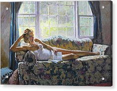 Lady With A Book Acrylic Print
