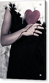 Lady With Blood And Heart Acrylic Print