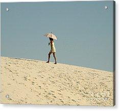 Lady With Umbrella On Sand Dune Acrylic Print by Patricia Januszkiewicz