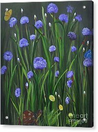 Acrylic Print featuring the painting Ladybug Lunch by Carol Sweetwood