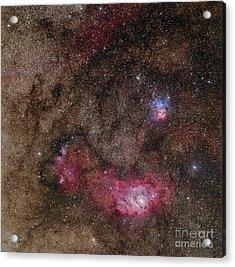 Lagoon Nebula And Trifid Nebula Acrylic Print by Phillip Jones