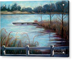 Acrylic Print featuring the painting Lake Acworth Dock by Gretchen Allen