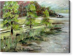 Acrylic Print featuring the pastel Lake Acworth Fisherman by Gretchen Allen