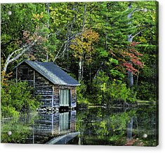 Acrylic Print featuring the photograph Lake Chocoura Boathouse by Betty Denise