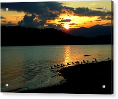 Lake Coeur D'alene Sunset Reflections Acrylic Print by Cindy Wright