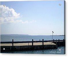 Lake Huron Harbor And Mackinaw Island View - Michigan Acrylic Print
