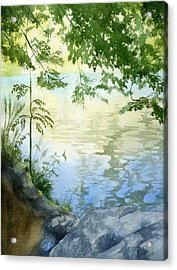 Acrylic Print featuring the painting Lake Impression 2 by Eleonora Perlic
