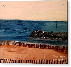 Acrylic Print featuring the painting Lake Michigan Blues by Ayasha Loya