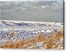 Lake Michigan On Ice Acrylic Print by Christopher Purcell