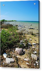 Lake Michigan Shoreline On A Sunny Afternoon Acrylic Print by Janice Adomeit