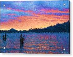 Lake Quinault Sunset - Impressionism Acrylic Print by Heidi Smith